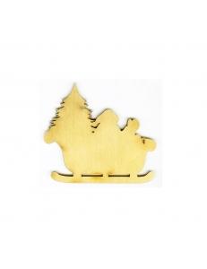 Заготовка плоская фигурка Дед Мороз с ёлкой в санях, фанера 4,5х5 см