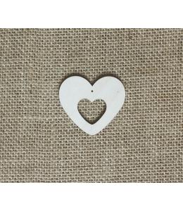 Декоративная плоская фигурка Сердце 1, 5х5 см, фанера, Woodbox