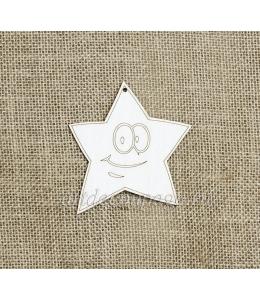 Декоративная плоская фигурка Звезда 1, фанера, 10 см, Woodbox