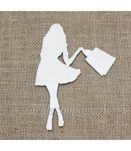 Декоративная плоская фигурка Шоппинг 2, фанера, 12х15 см, Woodbox
