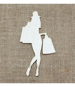 Декоративная плоская фигурка Шоппинг 3, фанера, 11х15 см, Woodbox