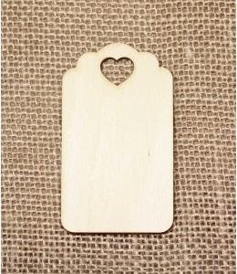Декоративная ажурная бирка  с сердечком, фанера, 7х4 см, Woodbox