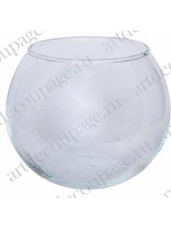 Заготовка для декора  ваза - подсвечник стеклянная круглая, 10,5х12,4 см
