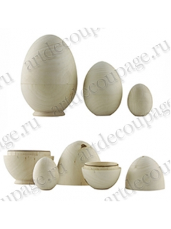 Заготовка деревянная яйцо матрёшка, 3 шт, WOODBOX