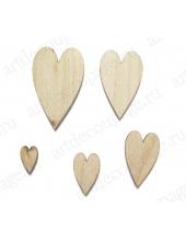 """Декоративные плоские фигурки из фанеры """"Сердечки"""", 5 шт, Woodbox"""