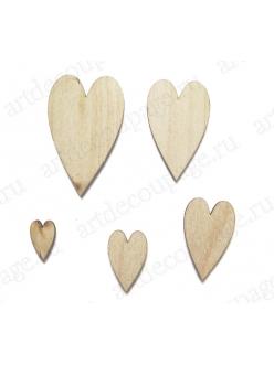 Плоские фигурки из фанеры Сердечки, 5 шт, Woodbox