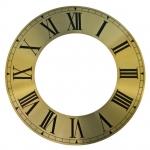 Циферблат для часов с вырезанным внутреним кругом 212х125мм, римские цифры, желтый металл, Young Town