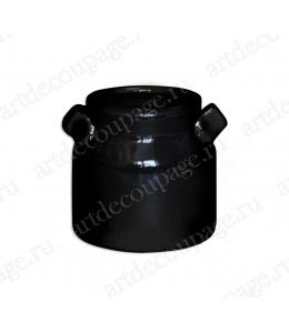 Миниатюрный декоративный бидон из фаянса, черный, 6х6,5 см