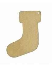 Декоративная плоская фигурка Рождественский носок, фанера, 5 см, Россия
