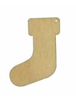Новогодняя плоская фигурка Рождественский носок, фанера, 5 см