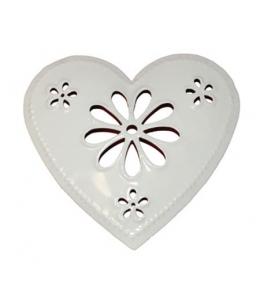 Декоративный элемент Сердце с цветком, белый металл, 9,5х10 см, Stamperia