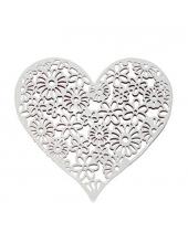 Декоративный элемент Сердце ажурное, белый металл, 9,5х10 см, Stamperia