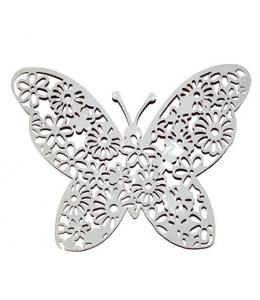 Декоративный элемент Бабочка ажурная большая, белый металл, 9х11,5 см, Stamperia