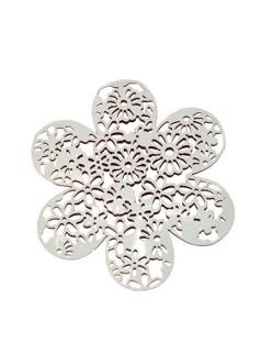 Декоративный элемент Цветок ажурный, белый металл, 9,5 см, Stamperia