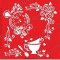 Трафарет объемный Цветы и чай, 19х19 см, толщина 0,5 мм