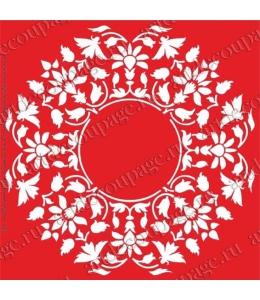 Трафарет объемный Орнамент круглый цветочный, 19х19 см, толщина 0,5 мм