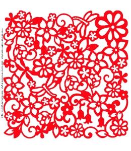 Трафарет маска объемный Цветы и стрекозы, 19х19 см, толщина 0,5 мм