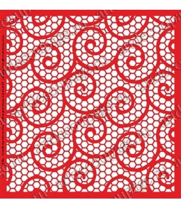 Трафарет объемный Решетка и завитки 24х24см, толщина 0,5 мм