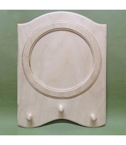 Заготовка вешалка с круглой рамкой с 3 крючками, фанера, 28х38 см