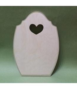 Заготовка доска с сердечком, фаска по краю, 18,5х27 см, фанера