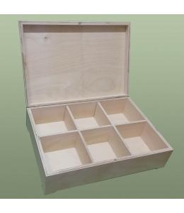 Заготовка шкатулка деревянная, 6 отделений, 34х25х10 см, Россия