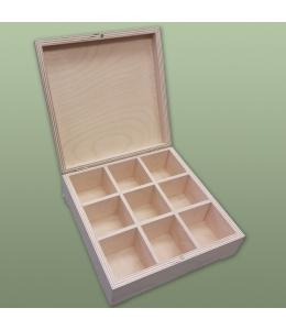 Заготовка шкатулка деревянная 9 отделений, 22,5 х 22,5 х 8 см, Россия