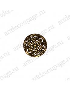 """Накладной элемент """"Вензель 12"""" 17х17 мм, цвет античная бронза"""