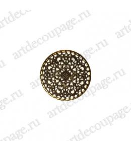 """Накладной элемент """"Вензель 13"""" 40х40 мм, цвет античная бронза"""