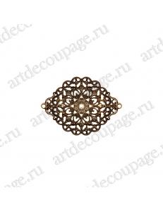 """Накладной элемент """"Вензель 22"""" 38х53 мм, цвет античная бронза"""