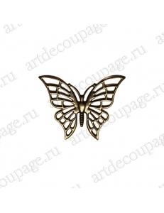 """Накладной элемент """"Бабочка"""" 50х60 мм, цвет античная бронза"""
