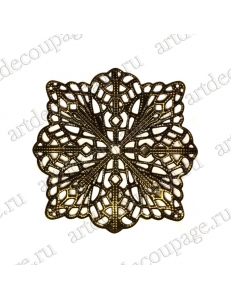 """Накладной элемент """"Вензель 31"""" 42х42 мм, цвет античная бронза"""