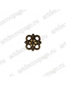 """Накладной элемент """"Вензель 43"""" 8х8 мм, цвет античная бронза"""