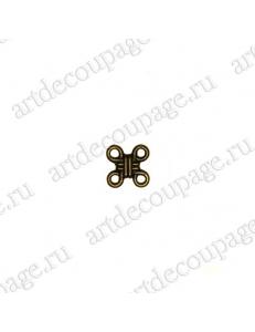 """Накладной элемент """"Вензель 44"""" 11х11 мм, цвет античная бронза"""