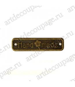 "Накладной элемент ""Бирка Hand made"" 6х26 мм, цвет античная бронза"