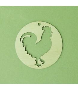 Плоская фигурка Петух в круге, фанера, 10 см, Россия