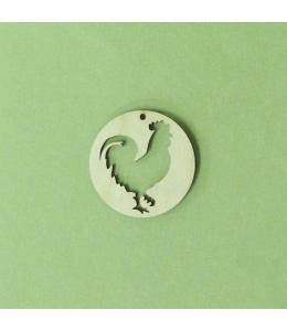Плоская фигурка Петух в круге, фанера, 5 см, Россия