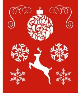 """Трафарет объемный """"Новогодние шары и олень"""", 15х18 см, толщина 0,5 мм"""