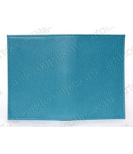 Заготовка обложка на паспорт, натуральная кожа, цвет темно голубой, 13,0х19,0 см
