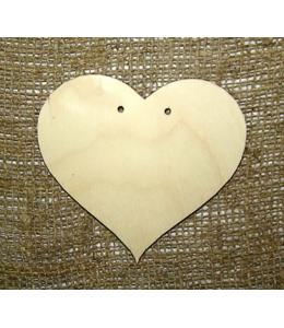 """Заготовка плоская фигурка """"Сердце"""" с двумя отверстиями, фанера, 10 см"""