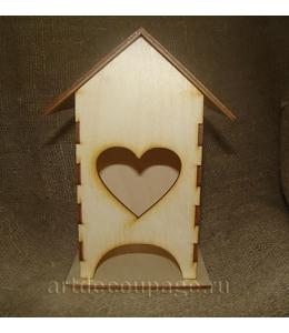 Заготовка чайный домик Сердце, фанера, 11х11х19 см, Россия