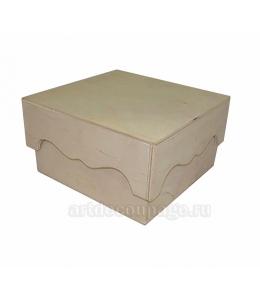 Заготовка коробка с фигурной крышкой, фанера, 18х18х10,5 см, Россия
