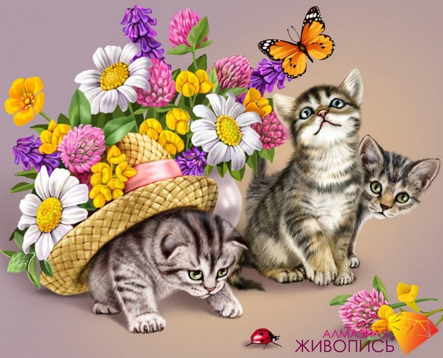 Картина стразами Три котенка Алмазная живопись