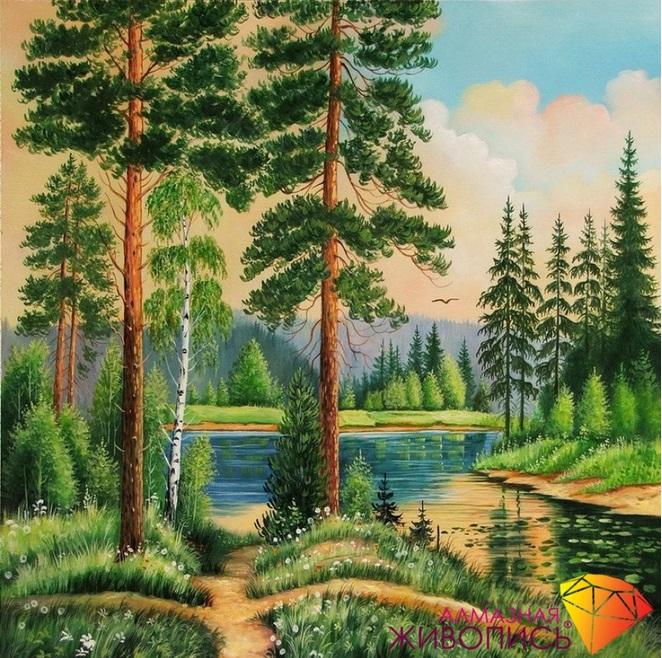 Картина стразами Тихая заводь Алмазная живопись