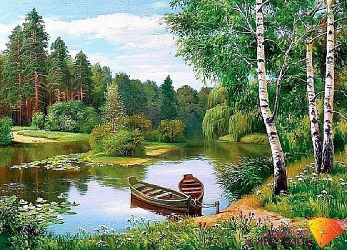 Картина стразами Лодки у берега Алмазная живопись