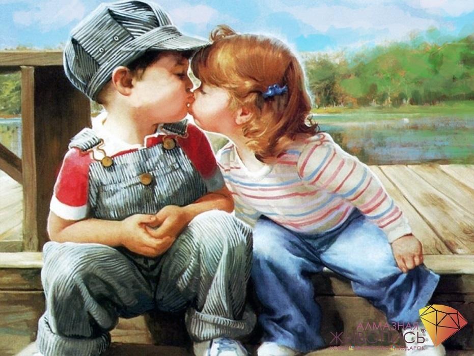 Картина стразами набор Поцелуй Алмазная живопись