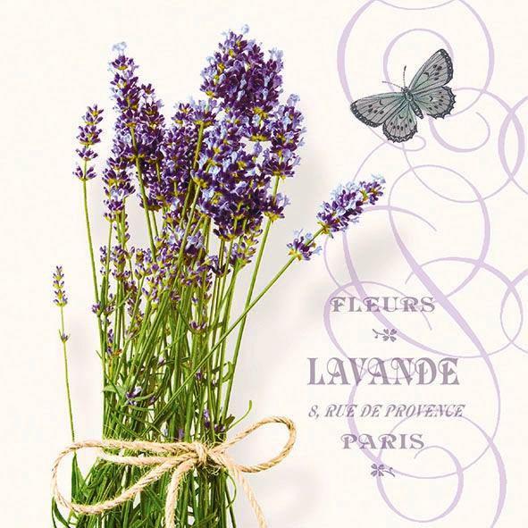Салфетка для декупажа Букетик лаванды и бабочка