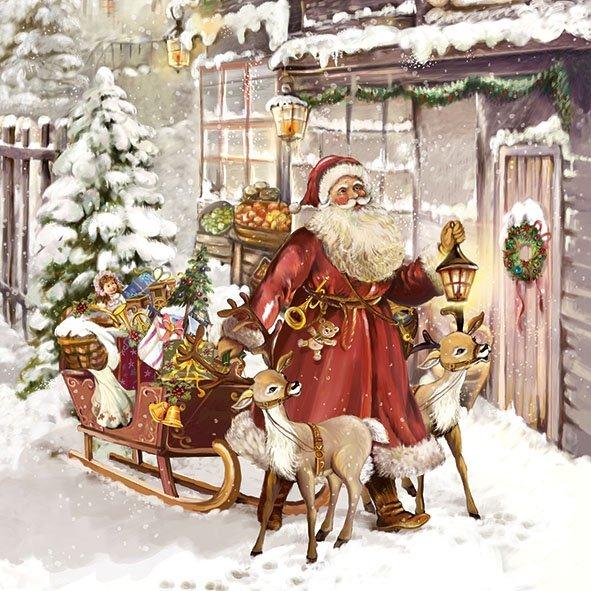 Новогодняя салфетка для декупажа Рождественский визит