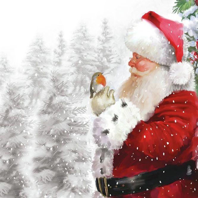 Новогодняя салфетка для декупажа Санта и малиновка