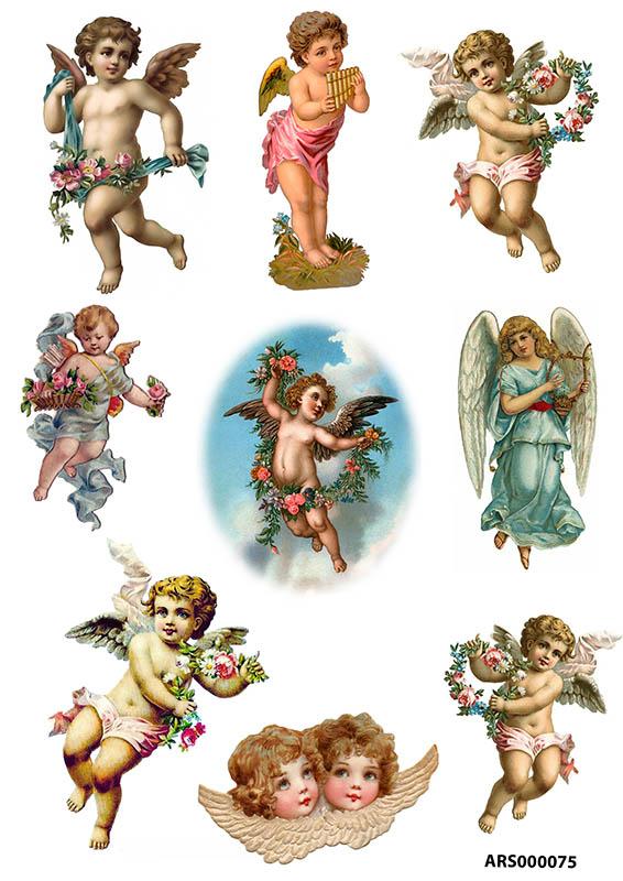 рисовая бумага для декупажа Ангелы с цветами, АртДекупаж
