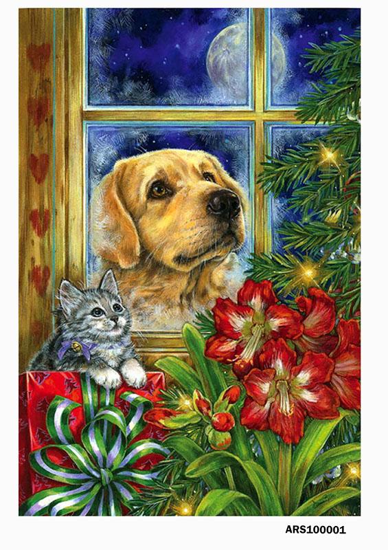 рисовая бумага для декупажа Новый год Собака у окна